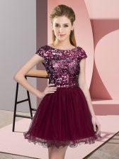 Dazzling Mini Length Burgundy Court Dresses for Sweet 16 Tulle Cap Sleeves Sequins