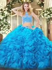 Aqua Blue Sleeveless Floor Length Beading and Ruffles Backless Quinceanera Gowns