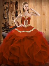 Sleeveless Lace Up Floor Length Embroidery and Ruffles Quince Ball Gowns