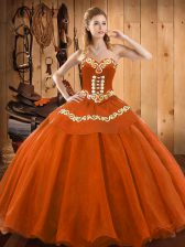 Deluxe Rust Red Ball Gowns Tulle Sweetheart Sleeveless Ruffles Floor Length Lace Up Sweet 16 Dresses