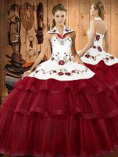 Pretty Wine Red Quinceanera Dresses Military Ball and Sweet 16 and Quinceanera with Embroidery and Ruffled Layers Halter Top Sleeveless Sweep Train Lace Up
