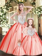 Admirable Ball Gowns 15 Quinceanera Dress Red Scoop Tulle Sleeveless Floor Length Lace Up