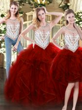 Romantic Wine Red Ball Gowns Tulle Scoop Sleeveless Beading and Ruffles Floor Length Zipper Quinceanera Dress