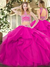 Ideal Floor Length Backless 15th Birthday Dress Fuchsia for Military Ball and Sweet 16 and Quinceanera with Beading and Ruffles