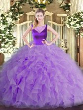 Lavender Sleeveless Organza Side Zipper 15 Quinceanera Dress for Sweet 16 and Quinceanera