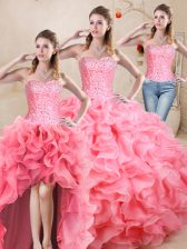 Pretty Floor Length Lace Up 15 Quinceanera Dress Watermelon Red for Sweet 16 and Quinceanera with Beading and Ruffles