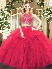 Sleeveless Floor Length Beading and Ruffles Zipper Sweet 16 Dress with Coral Red