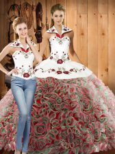 Sleeveless Sweep Train Lace Up Embroidery 15th Birthday Dress
