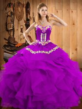 Eggplant Purple Satin and Organza Lace Up Sweetheart Sleeveless Floor Length Ball Gown Prom Dress Embroidery and Ruffles