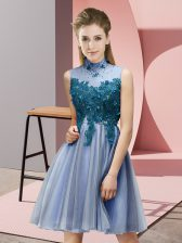 Modern Appliques Quinceanera Dama Dress Blue Lace Up Sleeveless Knee Length