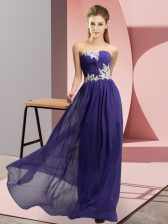 Purple Prom Evening Gown Prom and Party with Appliques Sweetheart Sleeveless Lace Up