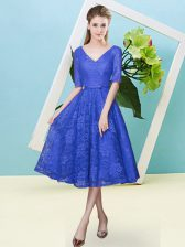 Cute Tea Length Empire Half Sleeves Royal Blue Quinceanera Dama Dress Lace Up