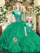 Vintage Turquoise Sleeveless Beading and Ruffles Floor Length Sweet 16 Quinceanera Dress