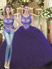 Dramatic Ball Gowns Quinceanera Gown Purple Scoop Tulle Sleeveless Floor Length Lace Up