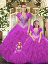 Beauteous Straps Sleeveless Quinceanera Gowns Floor Length Beading and Ruffles Fuchsia Tulle