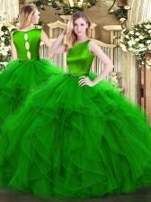 Green Organza Clasp Handle Scoop Sleeveless Floor Length 15th Birthday Dress Ruffles