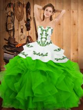 Gorgeous Strapless Sleeveless Satin and Organza Ball Gown Prom Dress Embroidery and Ruffles Lace Up