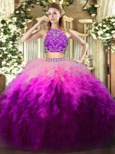 Glorious Multi-color Sleeveless Tulle Zipper Quinceanera Dresses for Military Ball and Sweet 16 and Quinceanera