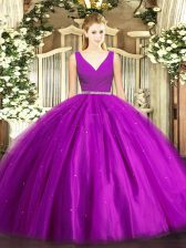 Fashionable Purple Ball Gowns V-neck Sleeveless Tulle Floor Length Zipper Beading Quinceanera Dresses