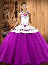 High Class Satin and Tulle Halter Top Sleeveless Lace Up Embroidery 15th Birthday Dress in Fuchsia