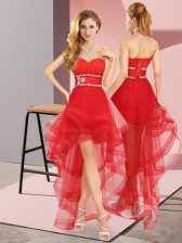 Sweetheart Sleeveless Lace Up Dama Dress for Quinceanera Red Tulle