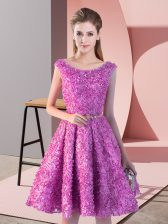 Lilac Lace Up Prom Party Dress Belt Sleeveless Knee Length
