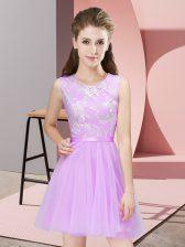 Beauteous Lace Damas Dress Lilac Side Zipper Sleeveless Mini Length