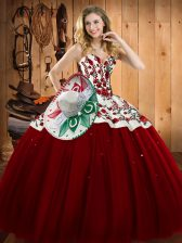 Wine Red Sleeveless Floor Length Embroidery Lace Up Sweet 16 Dress