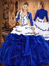 Blue Ball Gowns Embroidery and Ruffles Ball Gown Prom Dress Lace Up Satin and Organza Sleeveless Floor Length