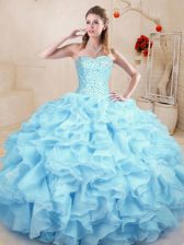 Luxury Light Blue Sweet 16 Dress Sweet 16 and Quinceanera with Ruffles Sweetheart Sleeveless Lace Up