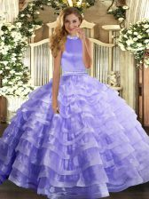 New Style Sleeveless Backless Floor Length Beading and Ruffled Layers Ball Gown Prom Dress
