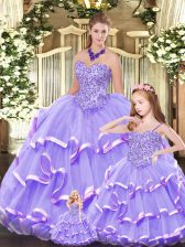 Nice Sleeveless Lace Up Floor Length Beading and Ruffled Layers Quince Ball Gowns