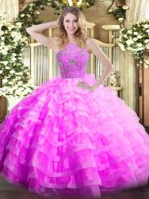 Classical Lilac Quinceanera Gown Military Ball and Sweet 16 and Quinceanera with Ruffled Layers Halter Top Sleeveless Zipper