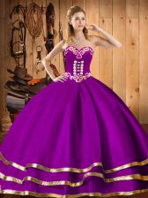 Sleeveless Organza Floor Length Lace Up Quinceanera Gown in Purple with Embroidery