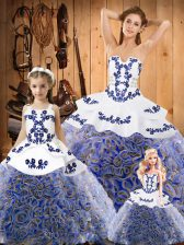 Shining Sleeveless Embroidery Lace Up Quinceanera Dresses with Multi-color Sweep Train