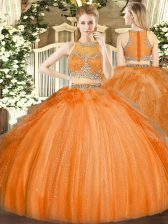 Captivating Floor Length Orange 15th Birthday Dress Scoop Sleeveless Zipper