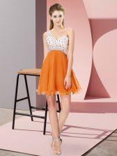 Sleeveless Chiffon Mini Length Criss Cross Prom Gown in Orange with Beading
