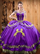 Purple Off The Shoulder Neckline Beading and Embroidery Sweet 16 Dresses Sleeveless Lace Up