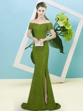 Free and Easy Olive Green Off The Shoulder Zipper Sequins Prom Evening Gown Sweep Train Short Sleeves