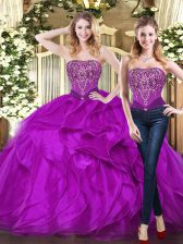 Purple Lace Up 15 Quinceanera Dress Beading and Ruffles Sleeveless Floor Length