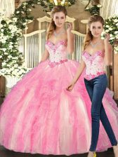 Top Selling Sleeveless Floor Length Beading and Ruffles Lace Up 15th Birthday Dress with Rose Pink
