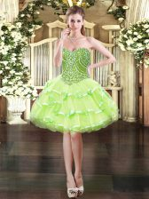 Chic Organza Sweetheart Sleeveless Lace Up Beading Prom Dresses in Yellow Green
