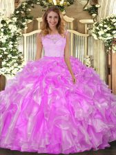 Scoop Sleeveless Organza Sweet 16 Dress Lace and Ruffles Clasp Handle