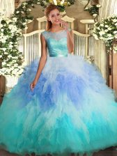Super Multi-color Tulle Backless Vestidos de Quinceanera Sleeveless Floor Length Beading and Ruffles