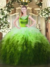 Suitable Sleeveless Side Zipper Floor Length Beading and Ruffles Quinceanera Gowns