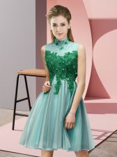 Inexpensive Knee Length Empire Sleeveless Light Blue Dama Dress for Quinceanera Lace Up