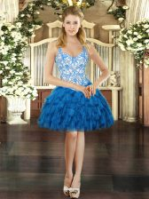 Blue Prom Party Dress Prom and Party with Beading and Ruffles Straps Sleeveless Lace Up