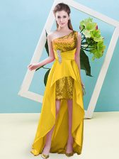 Popular Gold Sleeveless High Low Beading and Sequins Lace Up Prom Dress