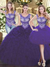 Simple Scoop Sleeveless Lace Up Quinceanera Gowns Purple Tulle