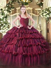 Burgundy Sleeveless Floor Length Ruffled Layers Zipper 15 Quinceanera Dress